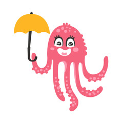 Cute cartoon pink octopus character holding umbrella, funny ocean coral reef animal vector Illustration