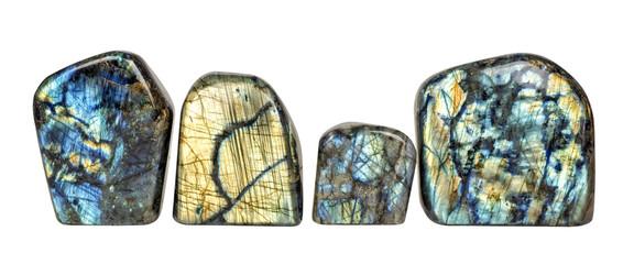 Labradorite crystal stones on white