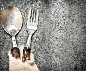 Serving background. Cutlery.