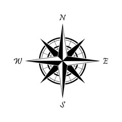 Black compass icon on a white background. Marine navigation. Sign for adventure map. Vector illustration