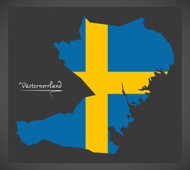 Vasternorrland map of Sweden with Swedish national flag illustration