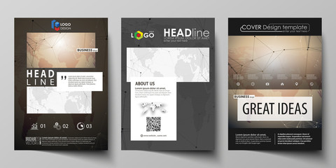 The black colored vector illustration of editable layout of A4 format covers design templates for brochure, magazine, flyer, booklet. Global network connections, technology background with world map.