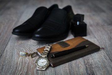 set of men's clothing and shoes