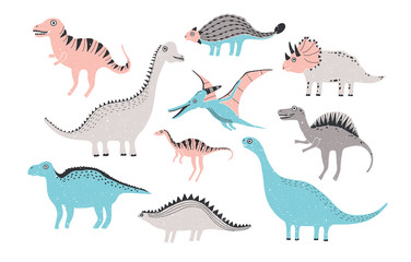 funny dinosaurs collection. Cute childish characters in pastel colors. Colorful hand drawn illustration.