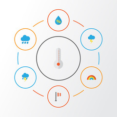 Climate Flat Icons Set. Collection Of Banner, The Flash, Lightning And Other Elements. Also Includes Symbols Such As Lightning, Variegation, Flash.