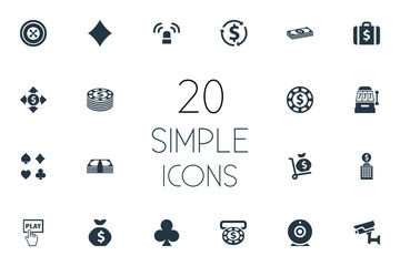 Vector Illustration Set Of Simple Gambling Icons. Elements Currency, Video, Casino And Other Synonyms Portfolio, Vegas And Exchange.