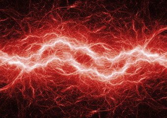 Red hot plasma, lightning and electrical background