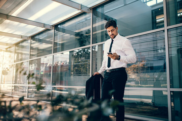 Businessman standing with luggage and using smart phone