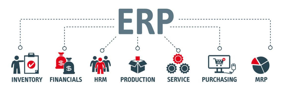 Enterprise resource planning concept ERP