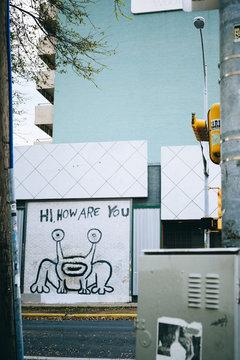 AUSTIN, USA - March 10, 2013: Greeting board on street