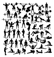 Weightlifter  and Gym Fitness Exercise Activity Silhouettes, art vector design