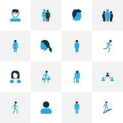 Person Colorful Icons Set. Collection Of Human, Jogging, Clever And Other Elements. Also Includes Symbols Such As Oldster, Team, User.
