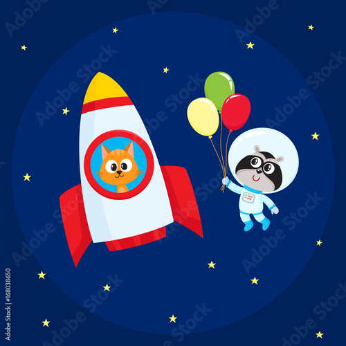 cute little animal astronaut spaceman characters raccoon wearing spacesuit cat in rocket. Black Bedroom Furniture Sets. Home Design Ideas