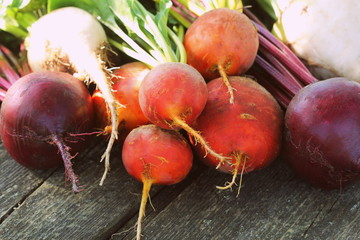 Fresh farm colorful beetroot on a wooden background. Detox and health. Selective focus. Red, golden, white beet