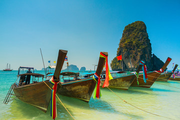Boats on the beach on the island of Thailand