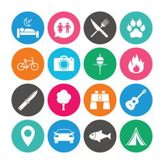 Set of Travel, Hiking and Camping icons.