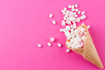 Marshmallows ice-cream and waffle cones