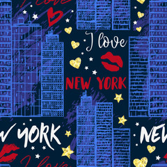 New York. Seamless pattern with skyscrapers , kisses, hearts and stars with golden glitter foil texture. Vector illustration