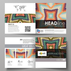 Business templates for square design bi fold brochure, magazine, flyer, booklet. Leaflet cover, abstract vector layout. Tribal pattern, geometrical ornament in ethno syle, vintage fashion background.