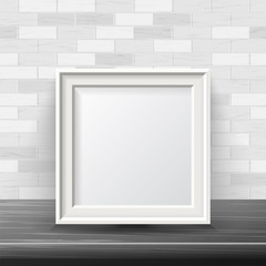 Vertical Square Frame Mock Up Vector. Good For Your Exhibition Design. Realistic Shadows. White Brick Wall Background. Front View Illustration.