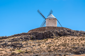 Foto op Canvas Molens Windmill of Cervantes Don Quixote in Consuegra, Toledo, Castile La Mancha, Spain, Europe