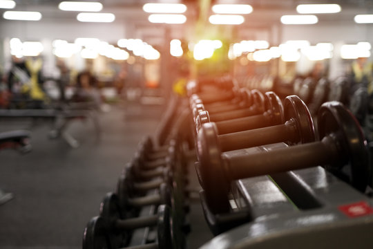 Different dumbbell weights in fitness center