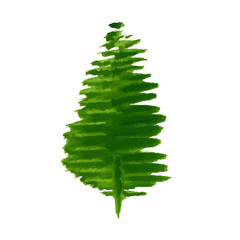 Christmas tree silhouette, isolated on white background, vector illustration