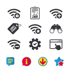 Wifi Wireless Network icons. Wi-fi add, remove.