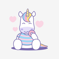 Cute cartoon unicorn eating donut, vector illustration