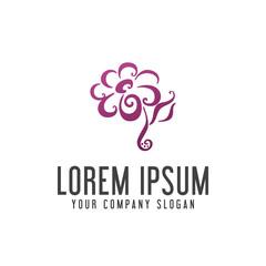 flower logo hand drawn style design concept template
