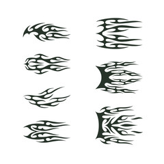 tribal tatto collection set . flame tatoo totem Vector Illustration design
