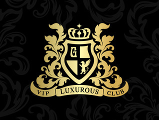 Heraldic logo template. Vintage ornamental emblem