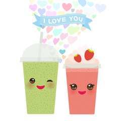 Valentine's Day Card design with Kawaii Strawberry Kiwi Take-out smoothie transparent plastic cup with straw and whipped cream. cute face with eyes and smile  Isolated on white background. Vector