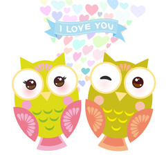 Valentine's Day Card design with Kawaii owl with pink cheeks and winking eyes, pastel colors on white background. Vector