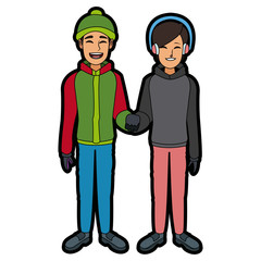 couple wearing warm winter clothes together vector illustration