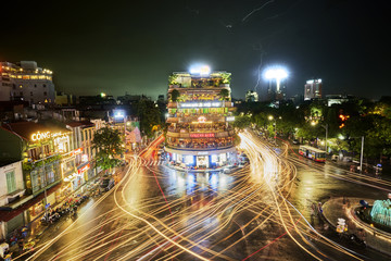 Hanoi, Vietnam - 08-08-2017 :the busy traffic in the old quarter of Hanoi in the evening