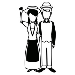 swiss in national dress man and woman in traditional costume vector illustration
