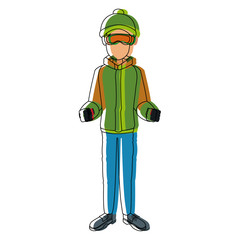 man with clothes snow hat and sticks ski vector illustration