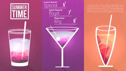 Minimal Cocktail Menu Template - Vector Illustration.