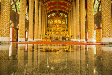 Group of Buddha Images in beautiful Buddhist church
