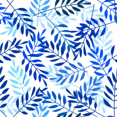 Vector seamless pattern with indigo blue leaves