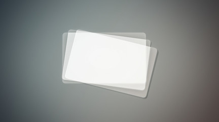 Blank Plastic Transparent Business Cards Mock Up 3d Rendering