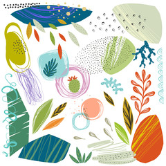 Wall Mural - Set of scribble textures and hand drawn floral elements. Vector illustration.