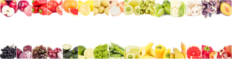 Linia z różnych kolorowych warzyw i owoców, izolowane