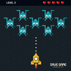 colorful poster of save game press start with graphics of spatial game in level three vector illustration