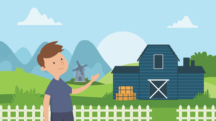 Little boy in front of his house. Vector cartoon illustration