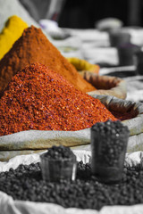 India spices at the local market at Delhi.