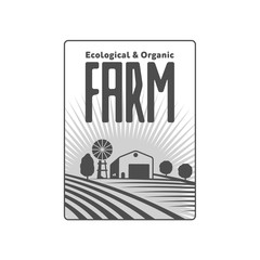 Vertical farm logo, badge, label with field, tractor, house and water tower over raising sun background, vector illustration.
