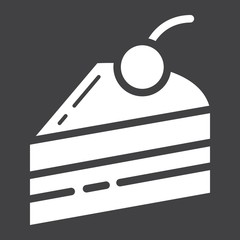 Piece of cake glyph icon, food and drink, sweet sign vector graphics, a solid pattern on a black background, eps 10.