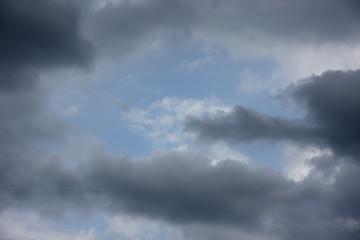 青空と雲「空想・雲のモンスターたち(雲間の向こうに白いドラゴン、その手前には、黒いドラゴン・怪鳥・不死鳥などのイメージ)」明暗を分ける、表裏一体、競争する、ライバル、なぜか気があう、性格違いなどのイメージ
